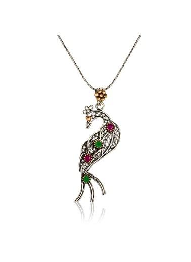 Söğütlü Silver Tavus Kuşu Kolye Renkli